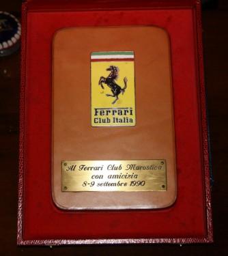 Targa dal Ferrari Club Italia 1990