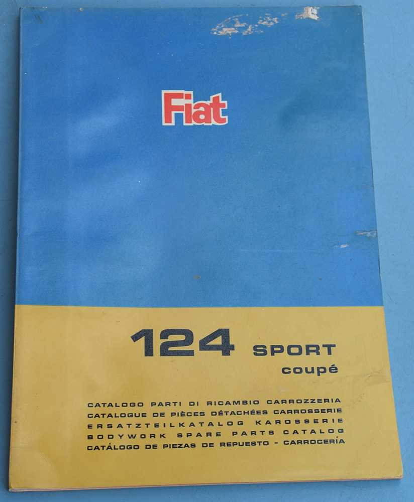 Depliant Fiat 124 Sport coupé Catalogo pezzi di ricambio carrozzeria