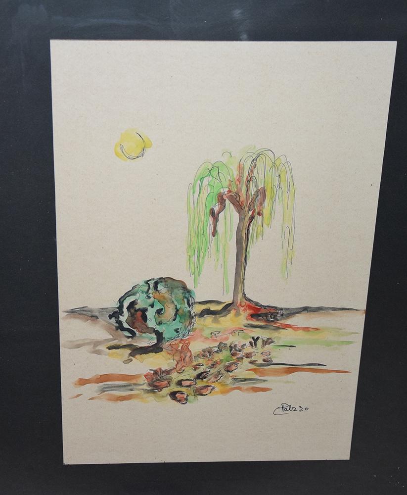Acquarello con cornice Paesaggio Collina