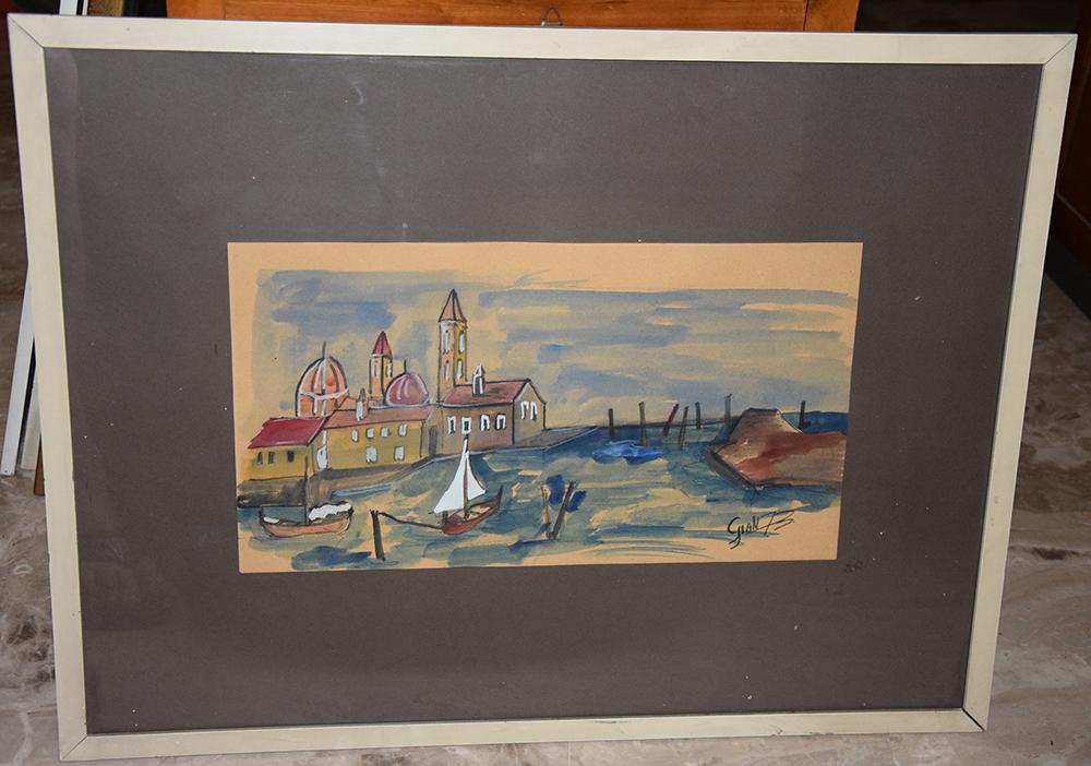 Acquarello con cornice Paesaggio Venezia