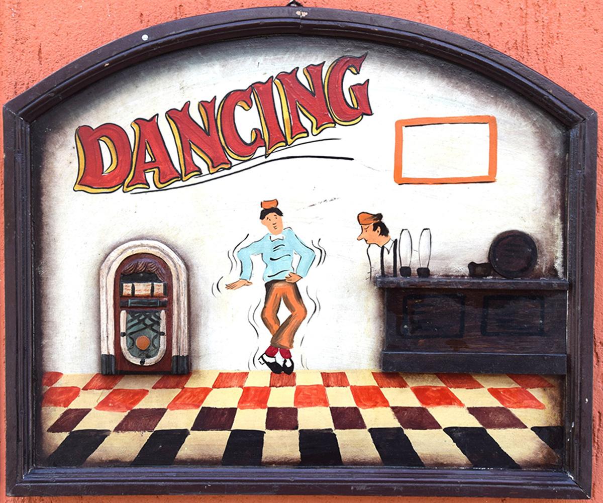 Insegna legno decorata Dancing
