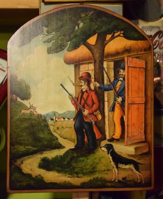 Quadro in legno cacciatori